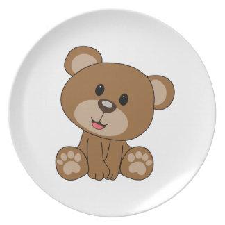 Brown Teddy Bear Dinner Plates