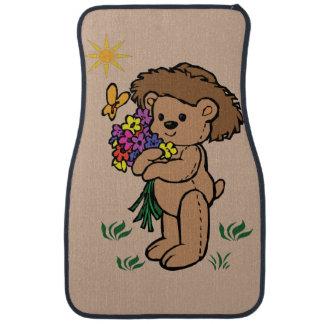 Brown Teddy Bear Holding Flowers Auto Mat