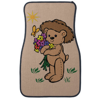 Brown Teddy Bear Holding Flowers Car Mat