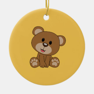 Brown Teddy Bear Round Ceramic Ornament