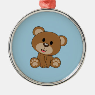 Brown Teddy Bear Silver-Colored Round Ornament