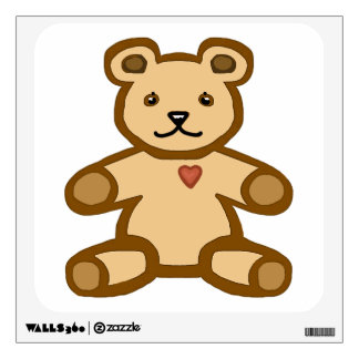 Brown teddy bear with love heart wall decal