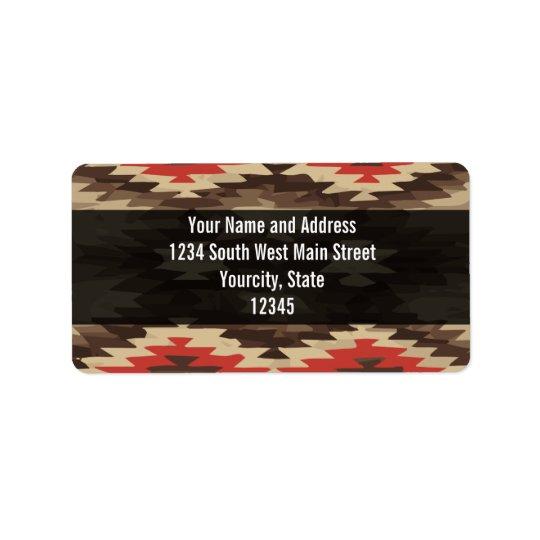 Brown/Terra Cotta Navajo Pattern Label