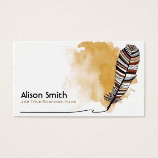 Brown/terracotta Aztec Feather Business Card