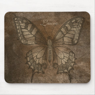 Brown Textured Butterfly Personalized Mouse Pad