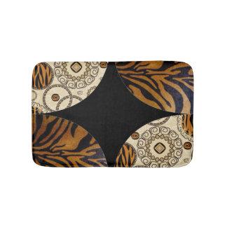Brown Tiger Print Pattern Design Bathroom Mat