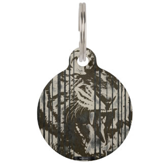 Brown Tiger Roaring Pet Nametag