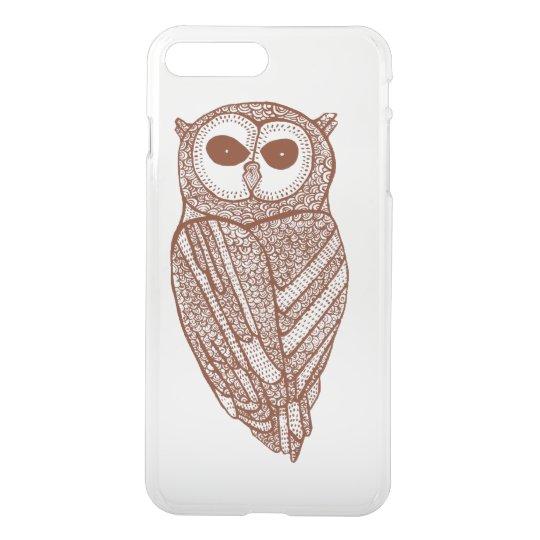 Brown Tones Line Drawing Owl iPhone 7 Plus Case
