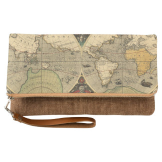 Brown Tones Vintage Global Map Clutch