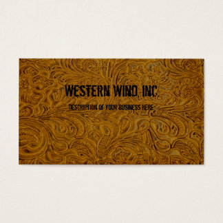 Brown Tooled Leather Business Card