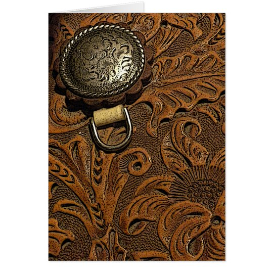 Brown Tooled Leather Horse Saddle Card