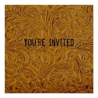 Brown Tooled Leather Invitation