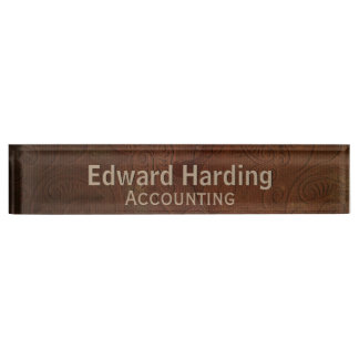 Brown Tooled Leather Looking Custom Desk Nameplate