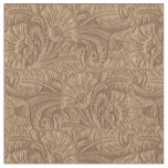 Brown Tooled Leather Print Western Fabric