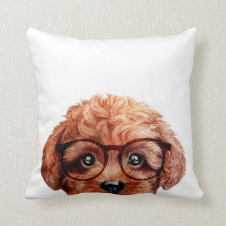 Brown toy poodle with glasses throw pillow