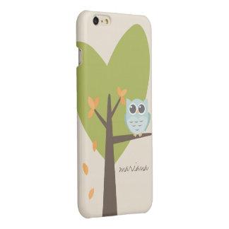 Brown Tree Branch Leaves Custom Name Blue Owl