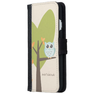 Brown Tree Branch Leaves Custom Name Blue Owl iPhone 6 Wallet Case