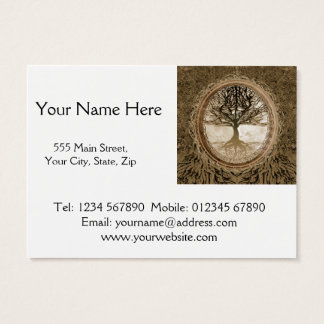 Brown Tree of Life Pattern Business Card