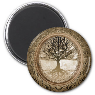 Brown Tree of Life Pattern Magnet