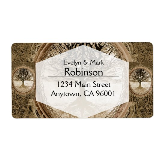 Brown Tree of Life Pattern Shipping Label