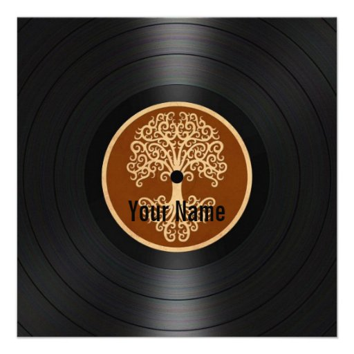Brown Tree of Life Personalized Vinyl Record Personalized Invite