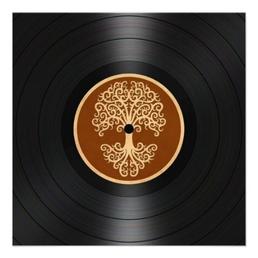 Brown Tree of Life Vinyl Record Graphic Announcements