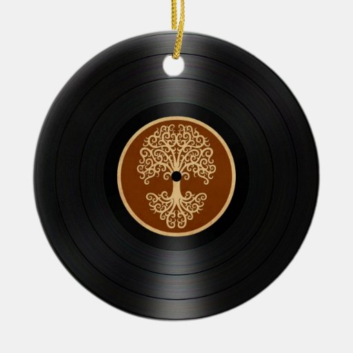 Brown Tree of Life Vinyl Record Graphic Christmas Ornament