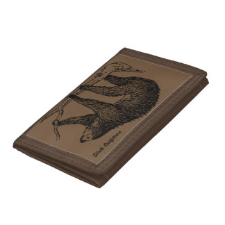 Brown Tri-Fold Sloth Outfitters Wallet