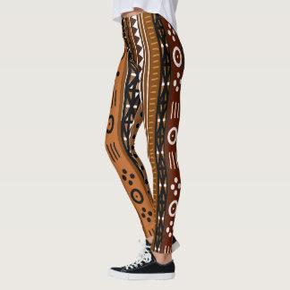 Brown Tribal Boho Design Leggings