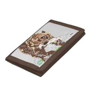 Brown TriFold Nylon Wallet/  Grizzly Bear Tri-fold Wallet