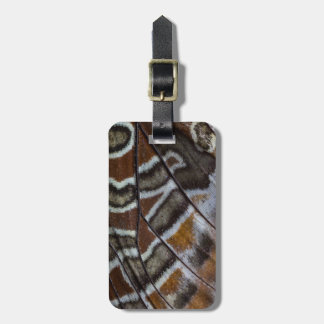 Brown tropical butterfly close-up bag tag