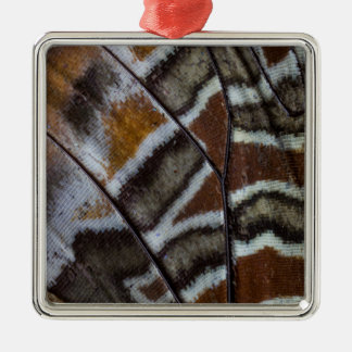 Brown tropical butterfly close-up Silver-Colored square ornament