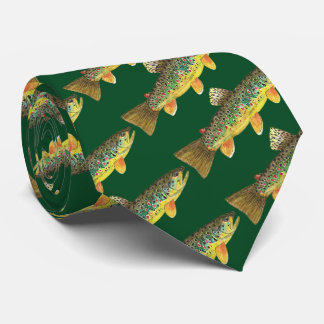 Brown Trout Fly Fishing Angling Fisherman's Tie