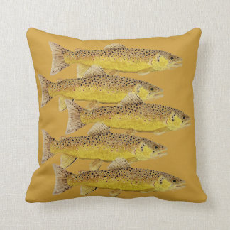 Brown Trout Pillow on Gold Background