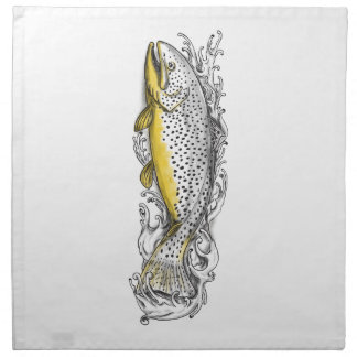Brown Trout Swimming Up Tattoo Napkin