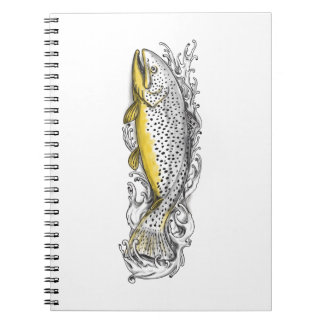 Brown Trout Swimming Up Tattoo Spiral Notebooks