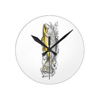 Brown Trout Swimming Up Tattoo Wall Clocks