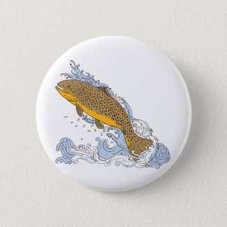 Brown Trout Swimming Up Turbulent Water Drawing 2 Inch Round Button