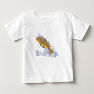Brown Trout Swimming Up Turbulent Water Drawing Baby T-Shirt
