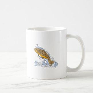 Brown Trout Swimming Up Turbulent Water Drawing Coffee Mug