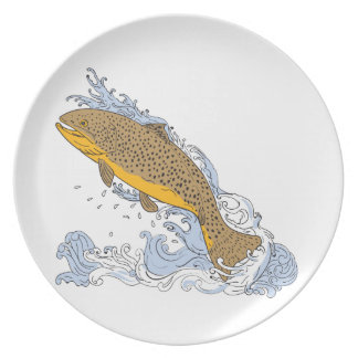 Brown Trout Swimming Up Turbulent Water Drawing Plate