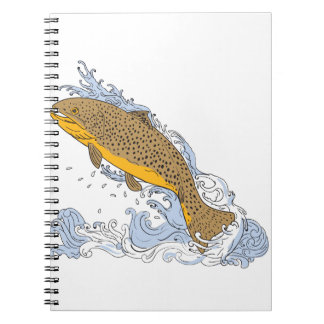 Brown Trout Swimming Up Turbulent Water Drawing Spiral Note Book