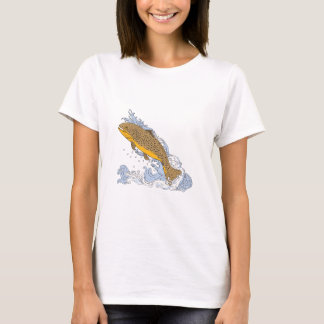 Brown Trout Swimming Up Turbulent Water Drawing T-Shirt