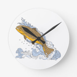 Brown Trout Swimming Up Turbulent Water Drawing Wall Clock