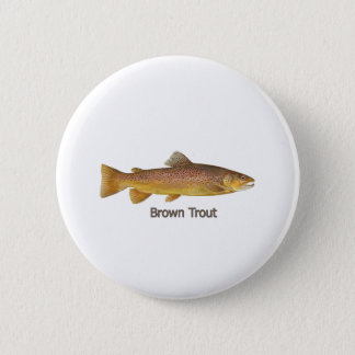 Brown Trout (titled) 2 Inch Round Button