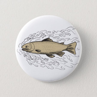 Brown Trout Waves Tattoo 2 Inch Round Button