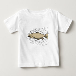 Brown Trout Waves Tattoo Baby T-Shirt
