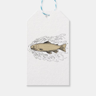 Brown Trout Waves Tattoo Gift Tags
