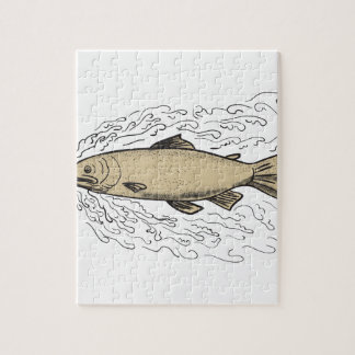 Brown Trout Waves Tattoo Jigsaw Puzzle