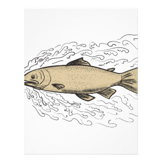 Brown Trout Waves Tattoo Letterhead